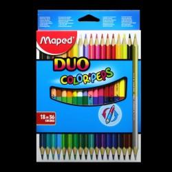 Pastelky oboustranné Maped DUO, 18/36 kusů