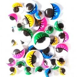 Samolepicí dekorační oči barevné - různé velikosti, 36 ks