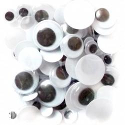 Samolepicí dekorační oči - různé velikosti, 75 ks