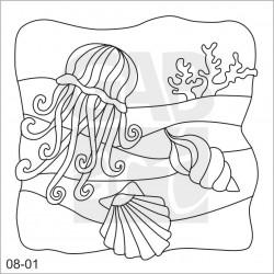 Obrázek k pískování - medúza, mušle