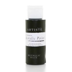 Akrylová barva, 59 ml - metalická černá