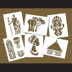 Papírové šablony - AFRIKA, 6 ks