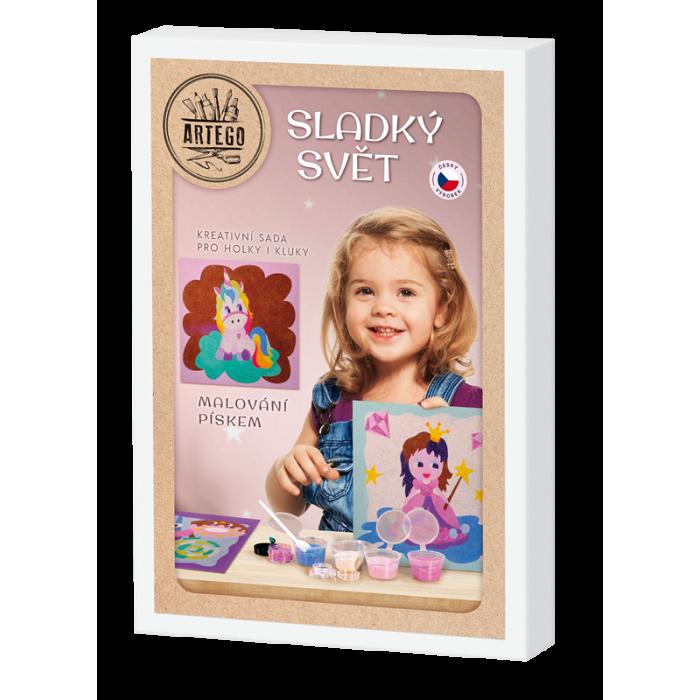 Sladký svět - malování pískem, pískování 6 obrázků jednorožci, duha, cupcake, princezna , jednorožec srdce a jednorožec kytička.
