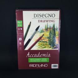 Kroužkový blok FABRIANO Accademia DISeGNO DRAWING pro techniky kvaše, tempery a pastelek. 30 bílých listů, velikost A4, gramáž 2