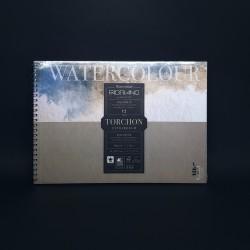 Kroužkový blok FABRIANO Watercolour akvarelové techniky. 12 bílých listů bavlna, drsná struktura), velikost A4, gramáž 300 gm2