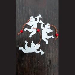 Dřevěné dekorace bílá, anděl s trubkou - 3 ks