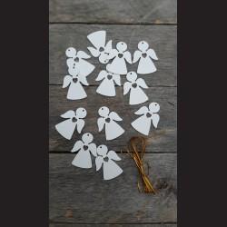 Dřevěné dekorace  anděl se srdíčkem, bílý, bal. 12 ks