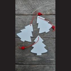 Dřevěné dekorace bílý stromeček - závěs  3ks