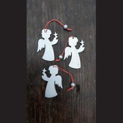 Dřevěné dekorace stříbrný anděl  závěs  - 3 ks vánoční ozdoba
