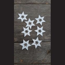 Dřevěné dekorace  bílá hvězda 5cm  - 7ks vánoční ozdoba