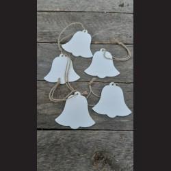 Dřevěné dekorace bílý zvonek 6,5cm - 5ks
