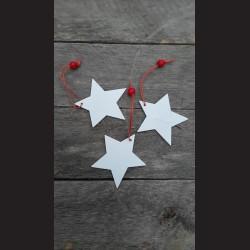Dřevěná dekorace hvězda bílá 6,5cm - 3ks vánoční ozdoby