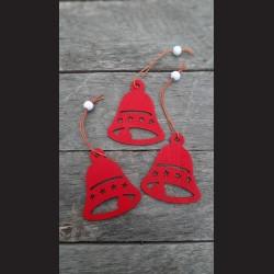 Dřevěné dekorace červený zvonek závěs - 3ks vánoční dekorace