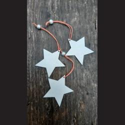 Dřevěná dekorace stříbrná hvězda závěs - 3ks vánoční ozdoba
