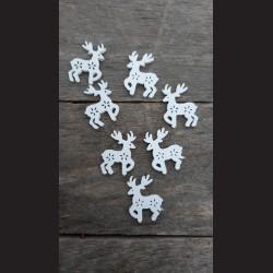 Dřevěné dekorace sob malý bílý - 5ks vánoční ozdoba