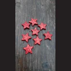 Třpytivá hvězdička červená 2cm - 8ks