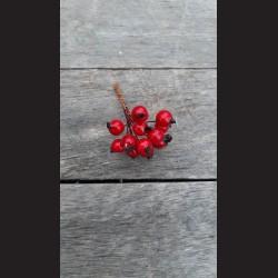 Bobule na drátku červené trs vánoční dekorace