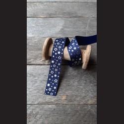 Dekorativní stuha š.1,5cm  se vzorem , vánoční i celoroční, modrá, stříbrná hvězdy
