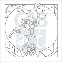 Obrázek k pískování - opice v cirkuse