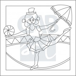 Obrázek k pískování - artistka s deštníkem