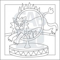 Obrázek k pískování - lev v cirkuse
