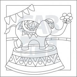 Obrázek k pískování - slon v cirkuse