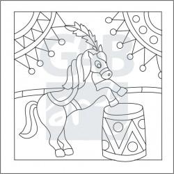 Obrázek k pískování - kůň v cirkuse