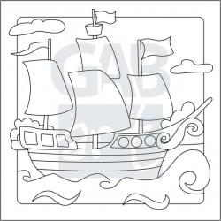 Obrázek k pískování - pirátská loď