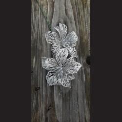 Květ zápich stříbro dekorace vánoce 16cm advent ozdoba adventní vánoční hvězda růže