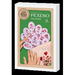 Kreativní sada na výrobu filcového pexesa , z červené panenky s puntíky ovál vhodné pro děti i dospělé