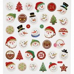 Samolepky vánoční hlavička sněhulák a ozdoby s glitrem na adventní tvoření