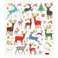 Samolepky vánoční jeleni s glitrem na adventní tvoření