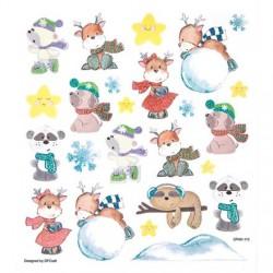 Samolepky vánoční zvířátka, vločky s glitrem na adventní tvoření