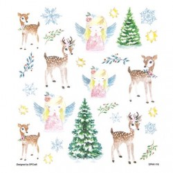 Samolepky vánoční jeleni, andílci, stromy, vločky s glitrem na adventní tvoření