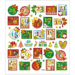 Samolepky vánoční adventní kalendář s glitrem na adventní tvoření