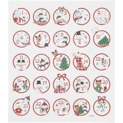 Samolepky vánoční metalické  na adventní tvoření na adventní kalendáře