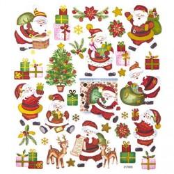 Samolepky vánoční Santa, stromečky, dárek metalické na adventní tvoření