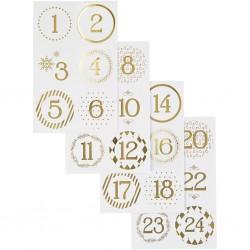 Samolepky vánoční zlatá kolečka na adventní tvoření na adventní kalendáře