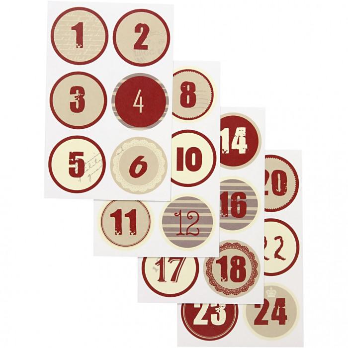 Samolepky vánoční červená, béžová kolečka na adventní tvoření na adventní kalendáře