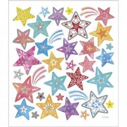 Samolepky vánoční stříbrné hvězdy metalické na adventní tvoření
