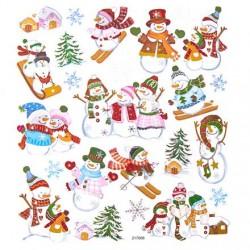 Samolepky vánoční sněhuláci, vločky  stříbrně zdobené metalické na adventní tvoření