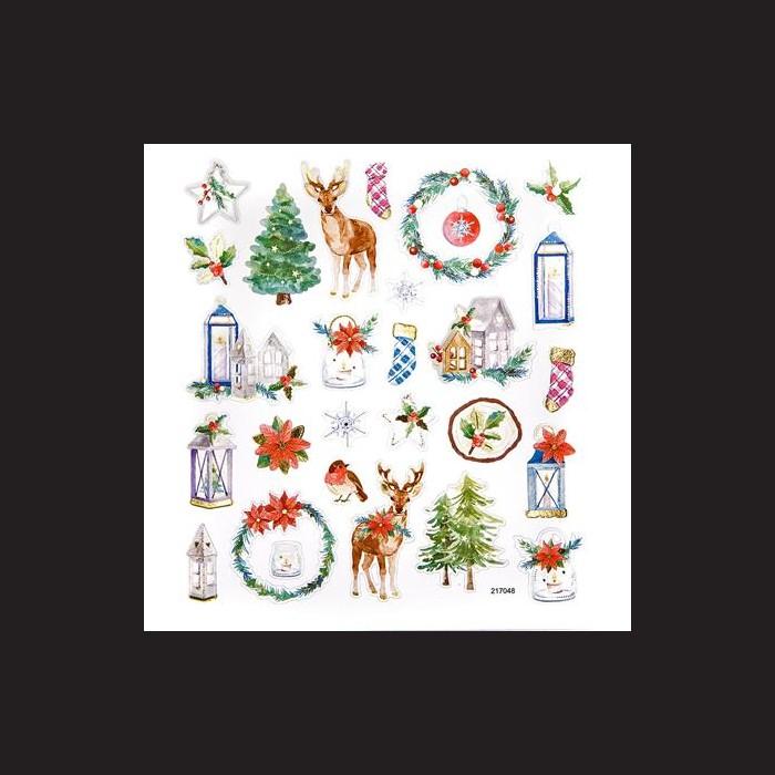 Samolepky vánoční vločky, jeleni, lucerny, stromečky, metalické na adventní tvoření