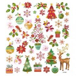 Samolepky vánoční jelen, vánoční růže, hvězda, stromy, vločky metalna adventní tvoření