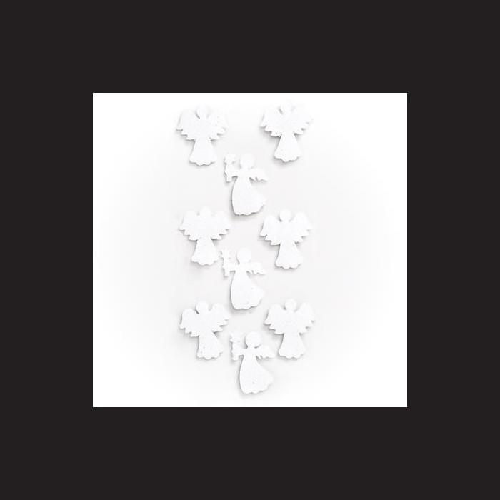 Andělé nalepovací adventní vánoční dekorace glitr  bílá