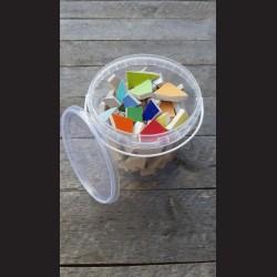Mozaikové keramické střepy - mix barev, 1 kg kbelík mat