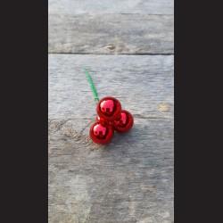 Baňka skleněná, červená lesk, 2 cm - 3 ks
