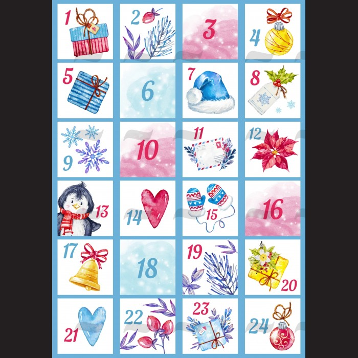Filc s motivem - adventní kalendář A4 na tvoření vánoční a adventní dekorace