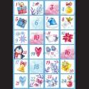 Filc A4 adventní kalendář modrý