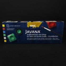 Barvy na textil JAVANA glitr, vhodné na tmavý i světlý textil, 6x20 ml