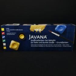 Barvy na textil JAVANA metalické, vhodné na tmavý i světlý textil, 6x20 ml